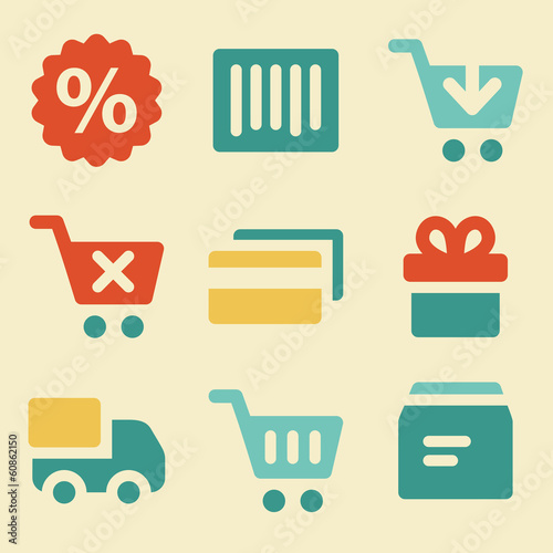 Shopping web icons retro color series