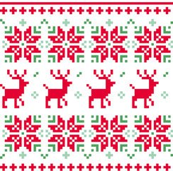 Nordic seamless knitted christmas pattern vector ( red and green