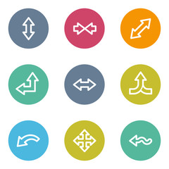 Arrows web icons set 2, color circle buttons