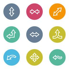 Arrows web icons set 2, color circle buttons