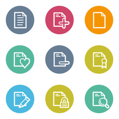 Document web icons set 2, color circle buttons