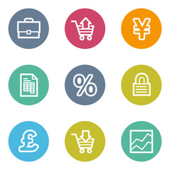 E-business web icons, color circle buttons