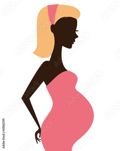 Pregnant woman silhouette isolated on white