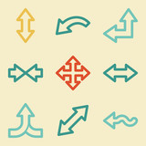 Arrows web icons, retro colors