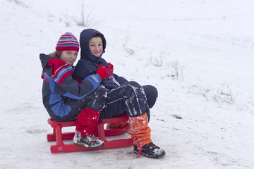 Children on the sleighing