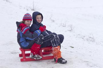 Children on the sleighing