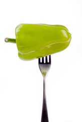green pepper in fork
