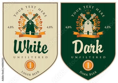 two labels for dark and white beer with mill