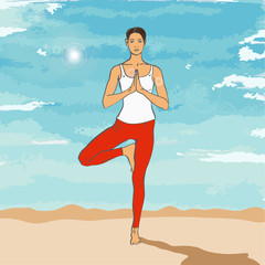 Girl in yoga's asana on the beach (Tree Pose (Vrikshasana))