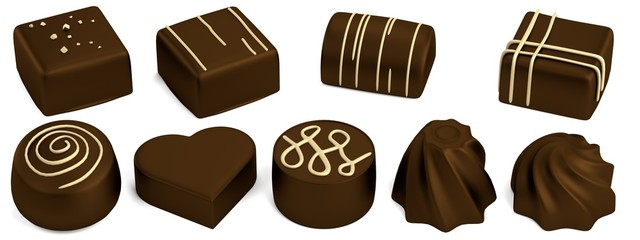 realistic 3d render of chocolate candies