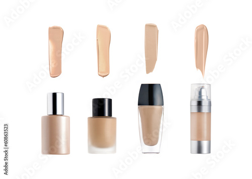 Liquid foundation bottles and strokes