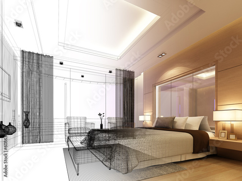 sketch design of bedroom ,3d  render