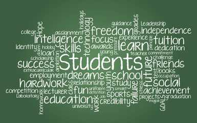 Students word cloud illustration in vector format