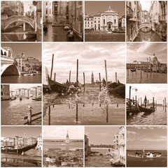 Collage of landmarks in Venice, Italy (sepia)