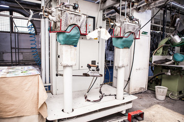 special machines in a factory with wires