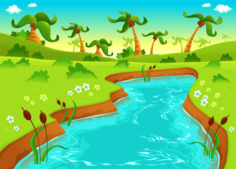 Jungle with pond.