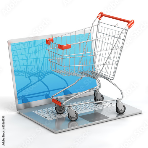 Shopping chart on notebook isolated
