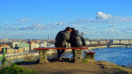 couple in love on the river bank