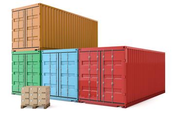 Container mit Kartons auf Palette