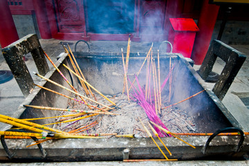 Burning incenses in Yonghe Temple (Lama Temple) in Beijing