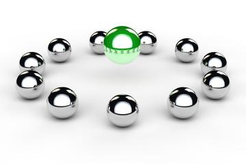 Kugeln im Kreis als Konzept für Beratung