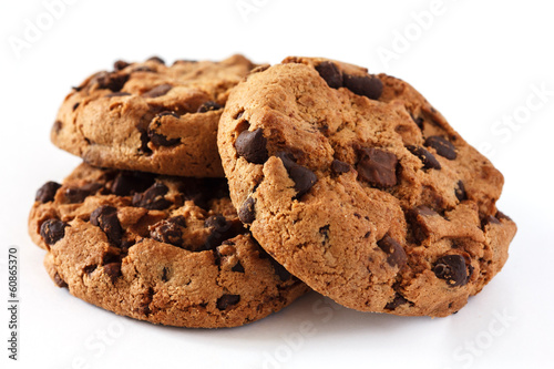 Chocolate chip cookie on white - 60865370