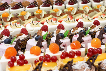 Many small desserts close together