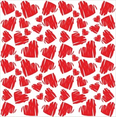 red Sketch Hearts Background