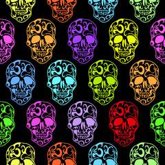 Colorful Skulls seamless pattern