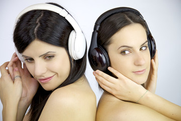 Beautiful women listening music naked