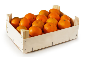 Wooden box filled with tangerines