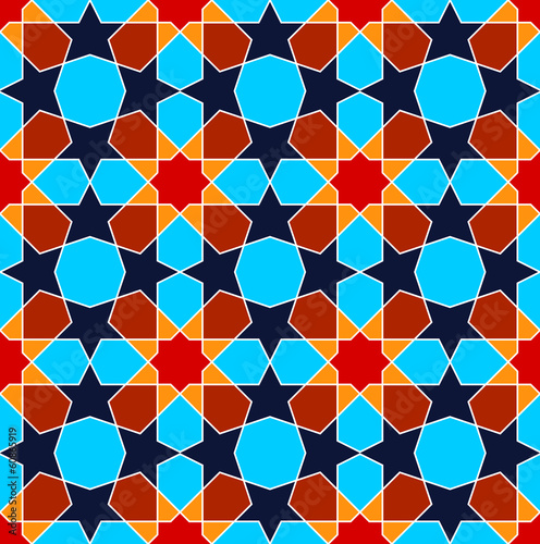 Geometric blue Persian art seamless pattern
