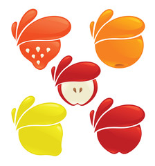 vector collection of fresh stylized fruits and berries