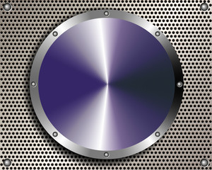 Metal background with grill and a steel disc in the center