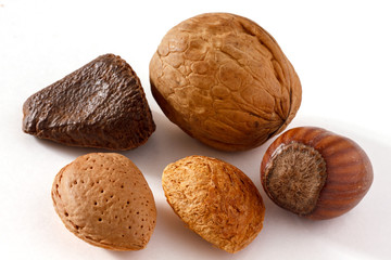 Five mixed nut on white