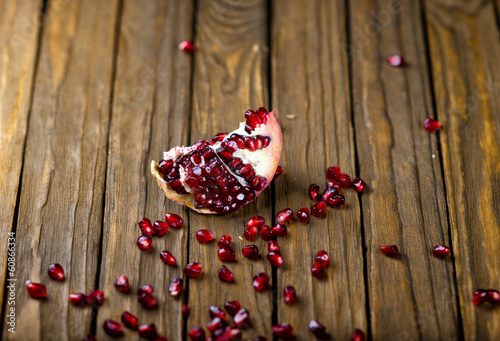 Pomegranate fruit on the table,