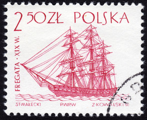 Stamp showing ancient frigate sailing ship