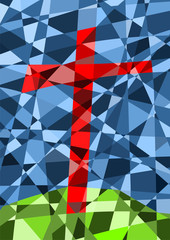 Kirchenfenster mit Kreuz