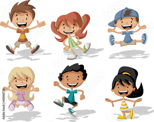 Group of happy cartoon children jumping