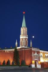 Moscow, the Kremlin, the Nikolskaya tower. Russia