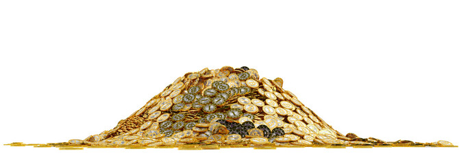 Big pile of golden Bitcoins - isolated on white