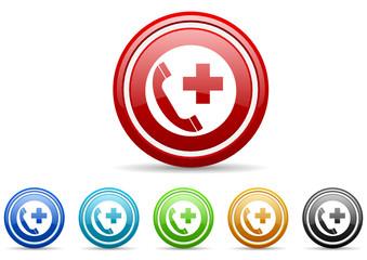 emergency call vector icon set