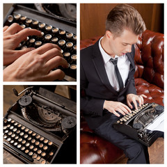 Young writer prints on retro typewriter