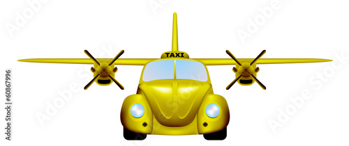 Taxi. Retro flying car.