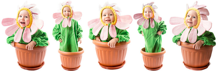 Collage of adorable baby girl dressed in flower costume