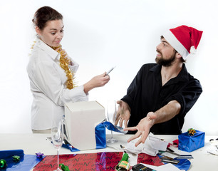 Couple having argument about Christmas Spending.