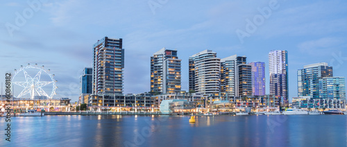 Fotobehang Australië Panoramic image of the Docklands waterfront in Melbourne, Austra