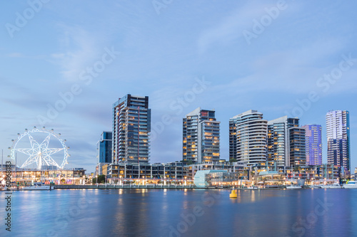 Night tim image of the Docklands waterfront in Melbourne, Austra