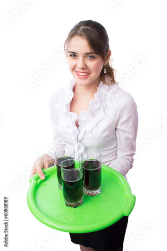 beautiful girl the waiter with a tray in her hands