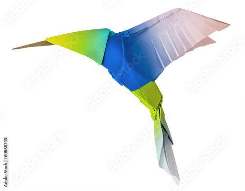 Origami flying hummingbird